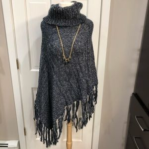 Tops - Navy Wool Knit Asymmetrical Poncho